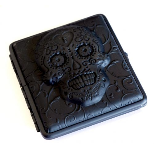 Black Leather Skull Case Assorted Designs