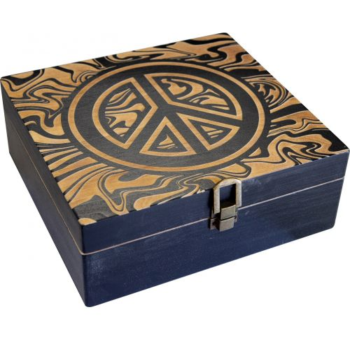 Large Wooden Peace Storage Box