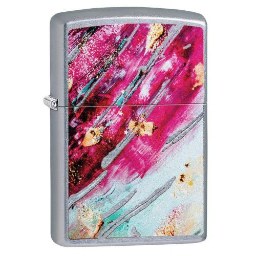 ZIPPO COLOURED MOSAIC 1 PINK STREET CHROME