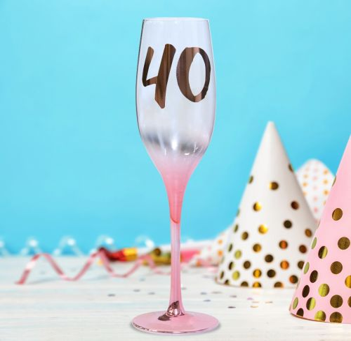 CHAMPAGNE FLUTE 40TH BIRTHDAY BLUSH
