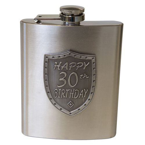Hip Flask 30th Birthday Satin Silver Shield Badge