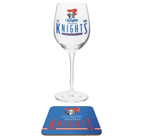NRL Wine Glass & Coaster Knights