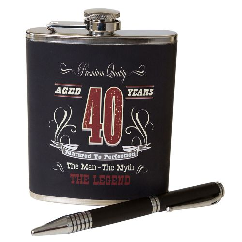 Hip Flask and Pen Set 40th