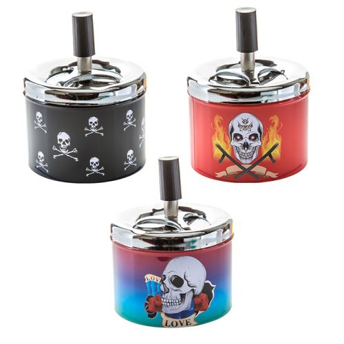 Ashtray Spinning 9.5cmSkull Metal Asst