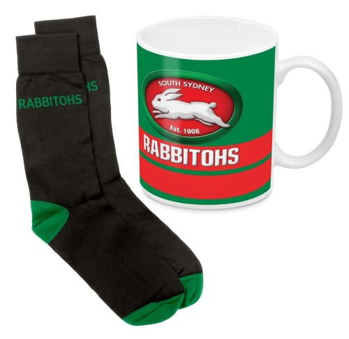 NRL Rabbitohs Sock & Mug Gift Pack
