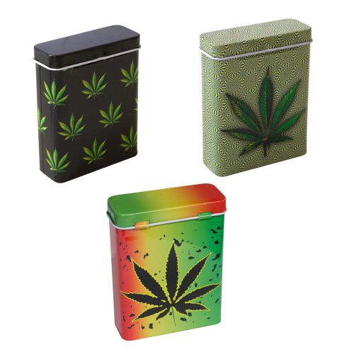 Metal Flip Top Case Leaf Assorted Designs