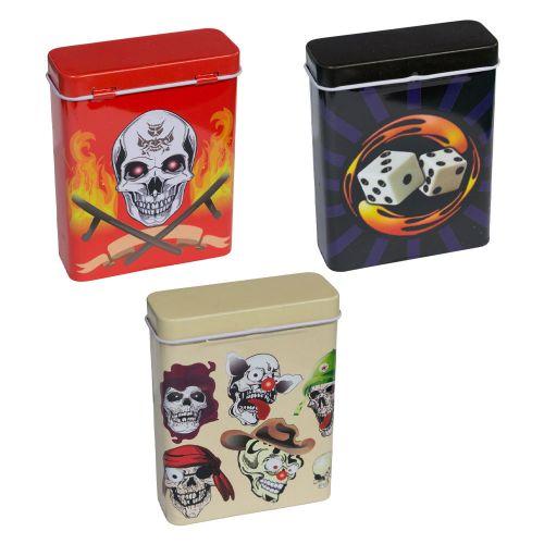 Metal Flip Top Case Skull Designs Assorted