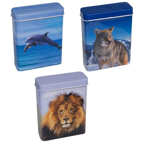 Metal Flip Top Case Animal Designs Assorted