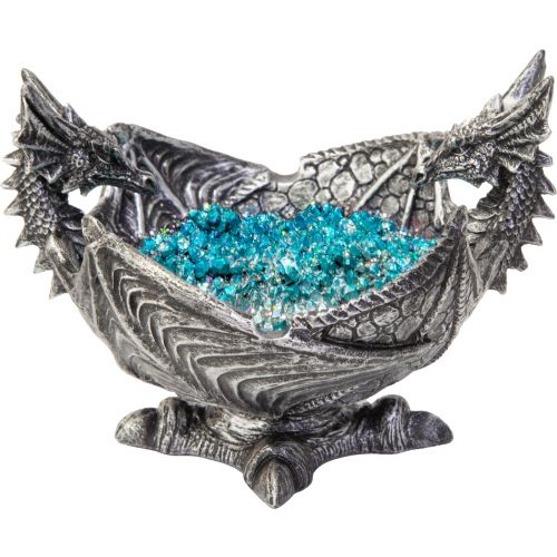 Twin Dragons Silver Ashtray with blue