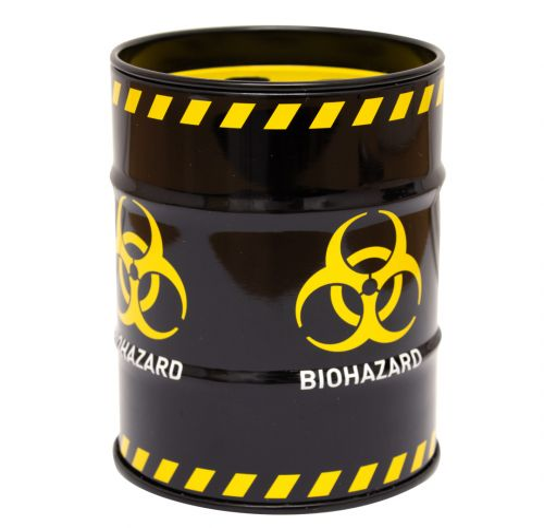 Metal Ashtray Butt Bucket black with biohazard logo