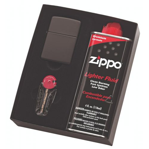 Zippo - Black Matte Lighter, Fluid & Flint Pack