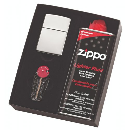 Zippo - Polished Chrome Lighter, Fluid & Flint Pack