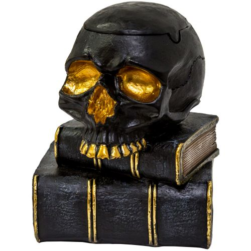 Ashtray Skull On Books Black