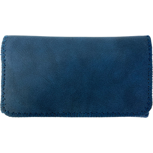 Deluxe Navy Blue Suede King Size Tobacco Pouch