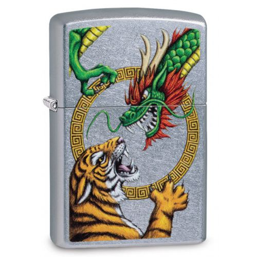 ZIPPO TIGER VS DRAGON STREET CHROME