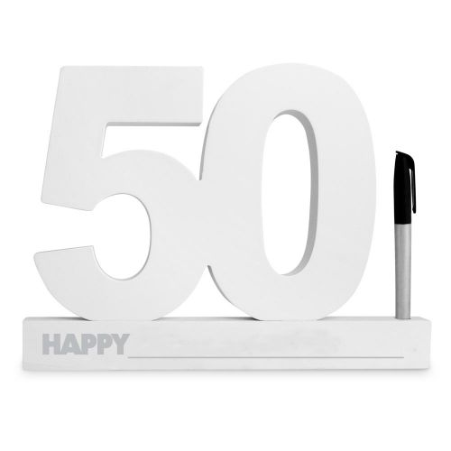 Sign It Number 50th Birthday White Black