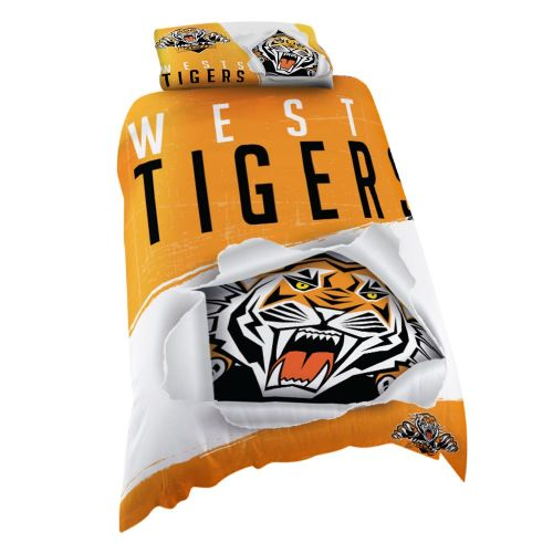 NRL West Tigers Quilt Cover Single Size
