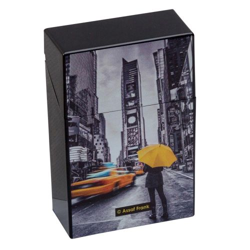 Cigarette Case City Yellow & Black Plastic Flip Top Champ Dl-12 Taxi Umbrella Raincoat