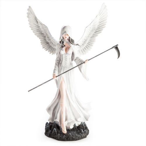 Large Angel Figurine White With Scythe