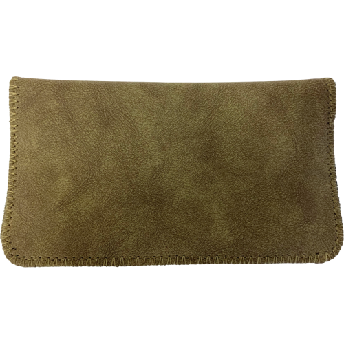 Deluxe Khaki Green Suede King Size Tobacco Pouch