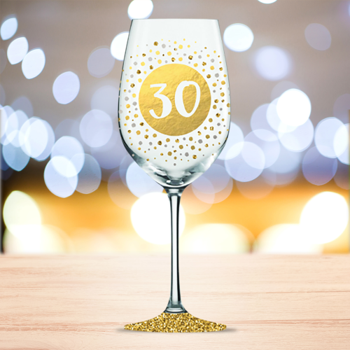 Wine Glass 30th Birthday Gold