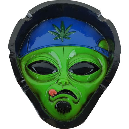 ASHTRAY ALIEN HEAD POLYRESIN