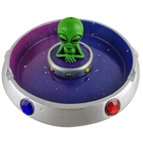 ASHTRAY 3D ALIEN FLYING SAUCER POLYRESIN