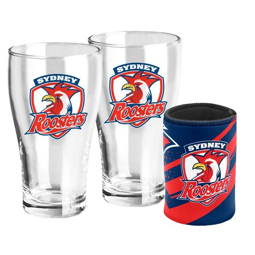 NRL Pint Glasses & Can Cooler Roosters