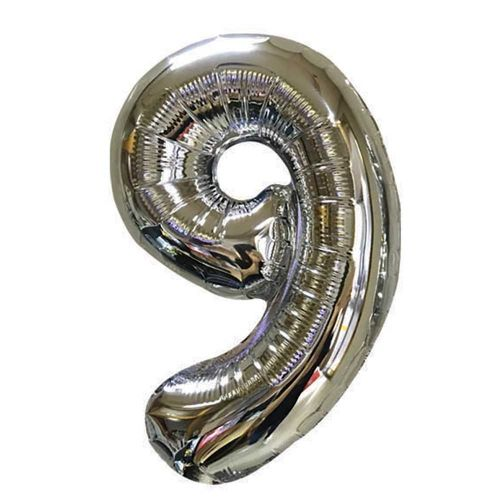 HIP HIP YAY FOIL BALLOON NUMBER 9 SILVER 101CM