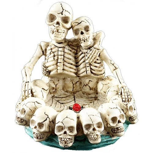 Skeleton Couple Hugging Ashtray Resin Aqua Base