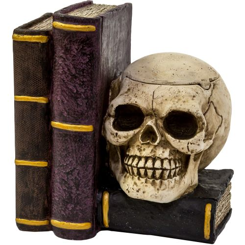 Ashtray Skull On Books White