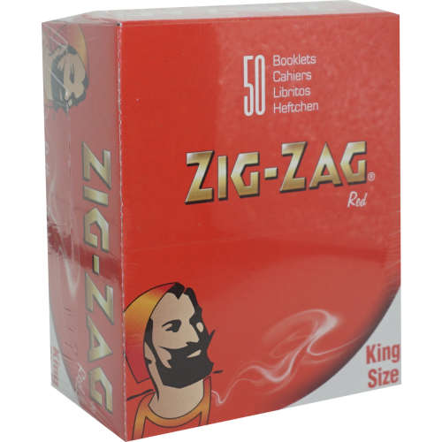 Zig Zag King Size Red Rolling Papers 1,600 Leaves (50x32L)