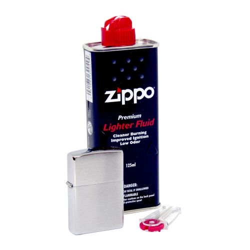 Zippo - Satin Lighter, Fluid & Flint Pack