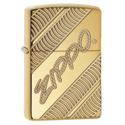ZIPPO  DEEP CARVE LOGO BRASS HIGH POLISH (99155)