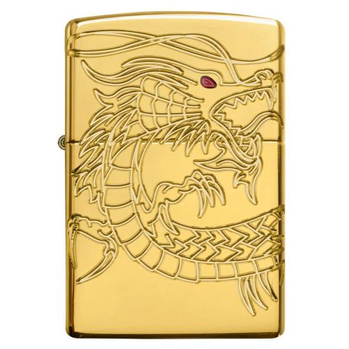 ZIPPO DRAGON RED EYE SPECIAL EDN GOLD PLATED