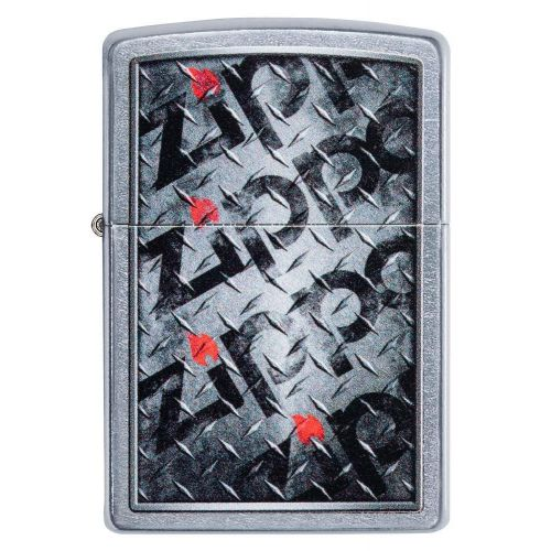 ZIPPO LOGO CHECKERPLATE STREET CHROME