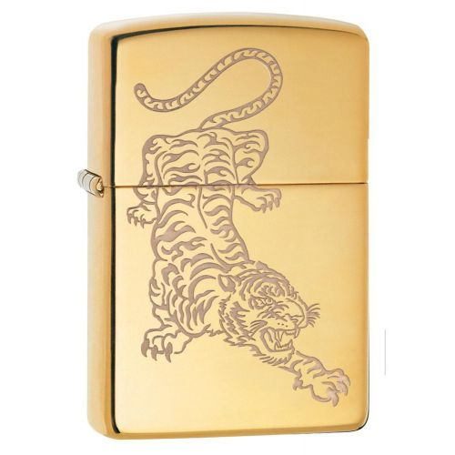 ZIPPO TIGER ETCH HIGH POLISH BRASS